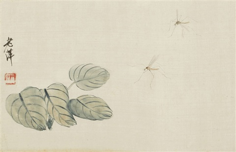 taro leaves and two mosquitos by qi baishi