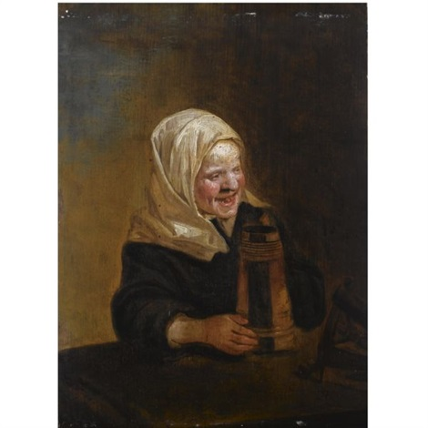 a young girl sitting at a table holding a beer mug by frans hals the elder