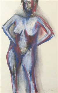 standing female nude by cliff holden