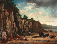 beach scene with a fisher family and sailboats by martin domicent