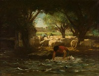 sheep washing by horatio walker