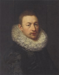 portrait of a gentleman in a black silk doublet and white ruff by hubert van ravesteyn