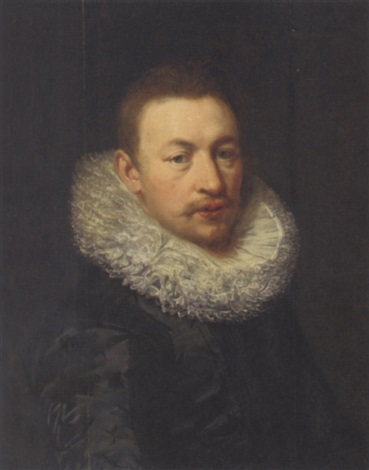 portrait of a gentleman in a black silk doublet and white ruff