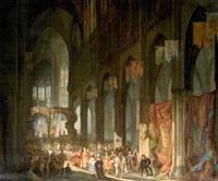 scène historique dans un intérieur d'église by august karl jos. a. migette