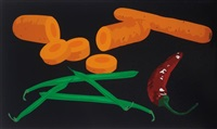 still life with green beans, chilli pepper and carrots by julian opie