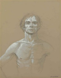 full face and chest, unfinished arm, nureyev (study #11) by jamie wyeth