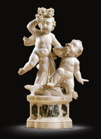pair of putti with flowers by giuseppe sanmartino