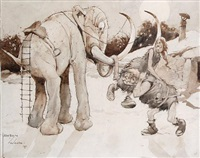 cavemen and mammoth by lawson wood