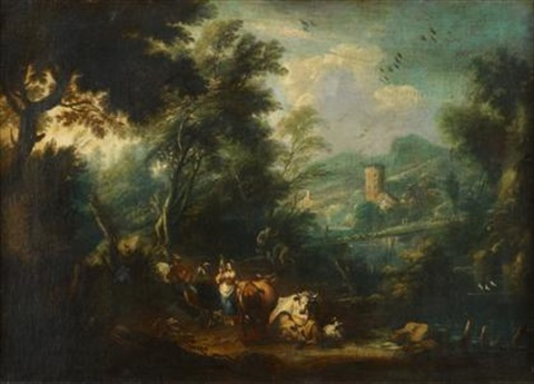 drover and shepherdess with cattle in a landscape by karel dujardin