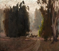 farmer on horse drawn cart among eucalyptus by jean mannheim