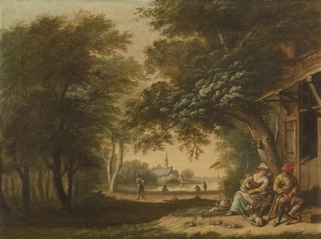 waldige landschaft mit bauernhütte und wandernder bettlerfamilie by albertus jacobus besters