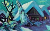 winterliches dorf by helmut arnez