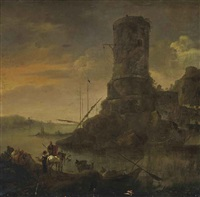 an italianate river landscape with travellers on a bank, a classical tower beyond by karel dujardin