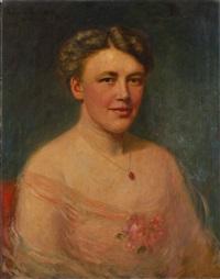portrait einer jungen dame / portrait eines jungen herren (pair) by antonie kaulbach