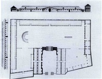 projet pour une écurie: façade latérale, coupe et plan de masse by claude-nicolas ledoux