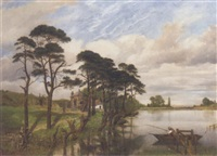 a fisherman in a lake landscape by william mulready the younger