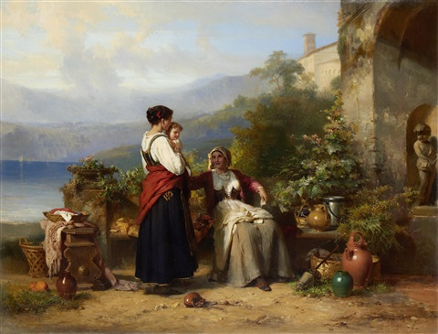 An Italian family on a terrace by Karel Frans Philippeau on