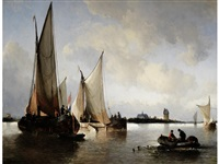 dutch galjots in an estuary by antonie waldorp
