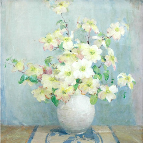 still life of a vase with white flowers by anna s fisher