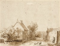 a village street with a duck pond, two pigs and a peasant by abraham furnerius