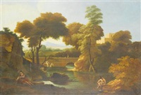 figures bathing in a river before an italianate landscape, with a bridge in the distance by johannes (jan) glauber