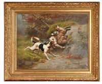 deux chiens prenant un renard by jules bertrand gélibert