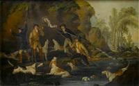 otter hunting (+ the kill; pair) by john francis sartorius