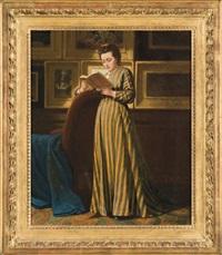 femme lisant dans une galerie de tableaux by michael van alphen