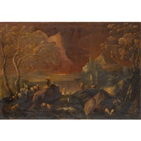 extensive landscape with figures, cattle, and goats by antonio francesco peruzzini