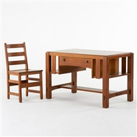single drawer library table with integrated bookshelves and ladder back side chair (2 works) by charles limbert