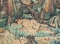 jeune fille alanguie dans une palmeraie by jean désiré bascoules