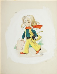 girl with yellow flares by mabel lucie attwell