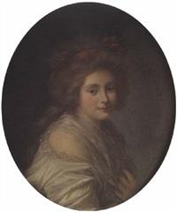 portrait de jeune femme au noeud rouge by elisabeth bocquet le moine