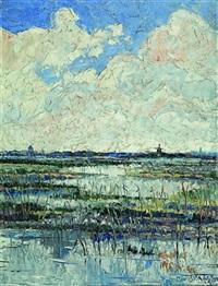 landschaft mit windmühle by peter van den braken