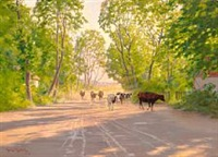 cows homeward bound late in the afternoon on a summer day by johan fredrik krouthen