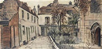 entrance to a church and its garden from a cobbled street by fred yates