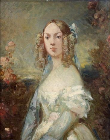 portrait présumé de la fille de lartiste au milieu de passeroses by louis gabriel eugène isabey