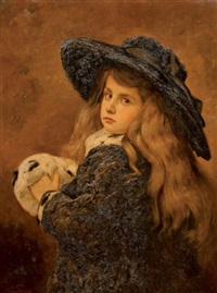 portrait de fillette au manchon d'hermine by frans jan simons