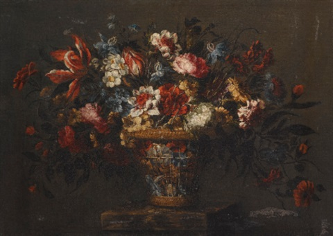 a still life with a basket of tulips carnations and other flowers on a stone plinth by josé de arellano