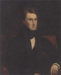 portrait of a gentleman, seated, in a black suit and black coat by henry daniel thielcke