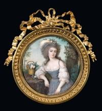 portrait de jeune femme en robe bleue largement décolletée by louis sené