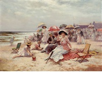 on the beach, east hampton by edward percy moran