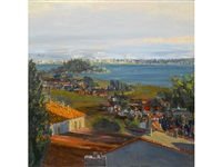 view of san francisco from tiburon, sunset sky by larry cohen