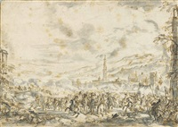 a battlefield before a town, mountains in the background by jacques courtois