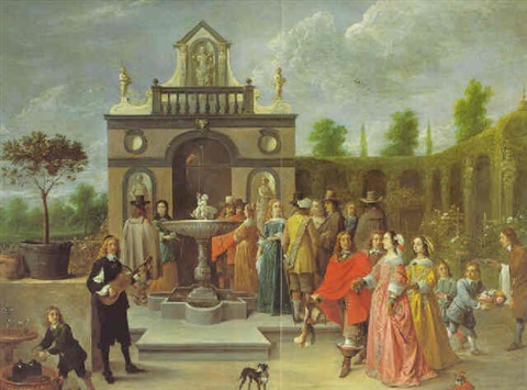 an elegant company before a pavilion in an ornamental garden by david teniers the younger