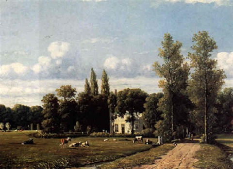 cows grazing by a country estate by johannes jacobus jan heppener