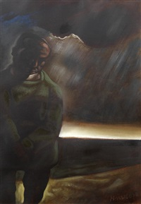 figure in rain by peter howson
