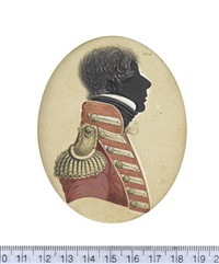 an officer of the 35th (sussex) regiment of foot, profile to the right, wearing red coat with orange facings, pewter buttons, shoulder wing, and button-hole... by john buncombe
