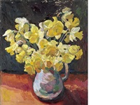 still life of daffodils (+ still life; 2 works) by theodore major