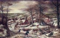 chasse au sanglier dans un paysage de neige panoramique by marten van valkenborch the elder
